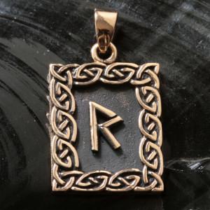 Pandantiv bronz runa Raidho