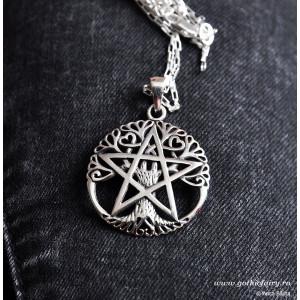 Pandantiv Copacul vieții cu pentagramă - argint