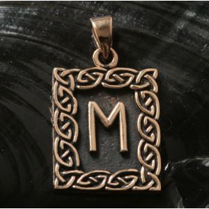 Pandantiv talisman din bronz cu runa Ehwaz