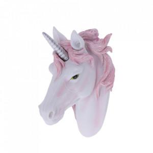 Placheta decorativa pentru perete cap de unicorn Splendoare roz 18.7 cm