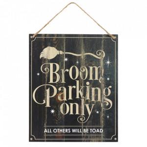 Placuta decorativa lemn Broom Parking Only