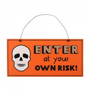 Placuta decorativa lemn Enter at your own risk