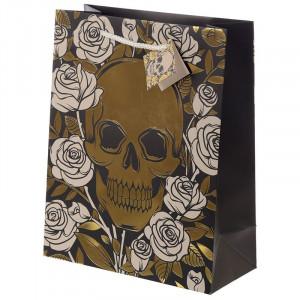 Punga cadou gotica Craniu cu Trandafiri - Mare