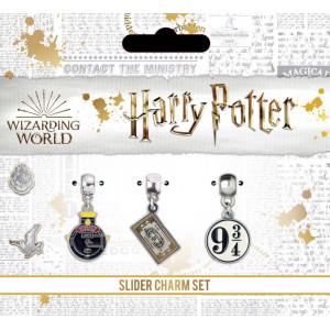 Set charmuri placate argint licenta Harry Potter - Expressul Hogwarts, Hogwarts Express Ticket si Platforma 9 3/4