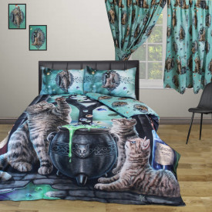 Set lenjerie de pat din bumbac, pisicute, Lisa Parker - Hocus Pocus, 200x200 cm