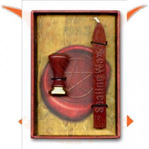 Set ritualic stampila si ceara pentru sigilii Pentagrama