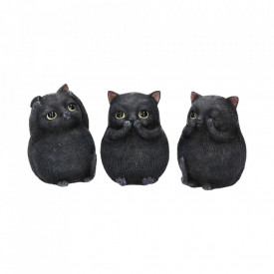Set statuete Trei pisicute grase intelepte 8.5 cm