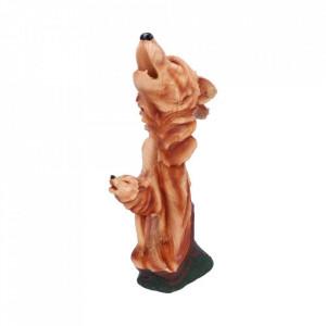 Statueta bust lupi finisaj lemn Melodia Naturii 38 cm