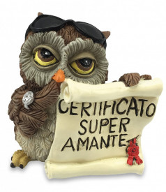 "Statueta Funny Collection Bufnita - Certificat ""Cel mai super Amant """