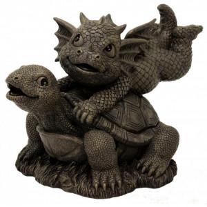 Statueta pentru gradina Dragonel si broscuta Țestoasa 20cm