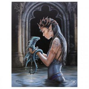 Tablou canvas, Dragonul de Apa, 19x25cm - Anne Stokes