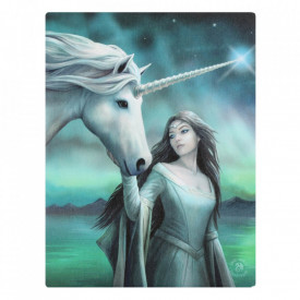 Tablou canvas zana si unicorn, Steaua Nordului 19x25cm - Anne Stokes