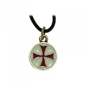 Pandantiv placat argint Crucea Templierilor - rosu si alb