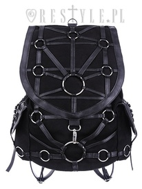Black harness backpack, with pockets, occult, black fashion O-RING BACKPACK