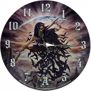 Ceas de perete din lemn A Tithe to Hell - Alchemy 34cm