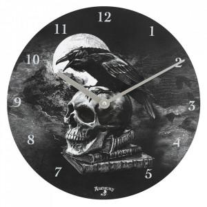 Ceas de perete din lemn Corbul lui Poe