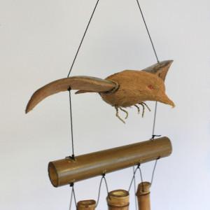 Clopotel de vant din trunchiuri de bambus Pasare