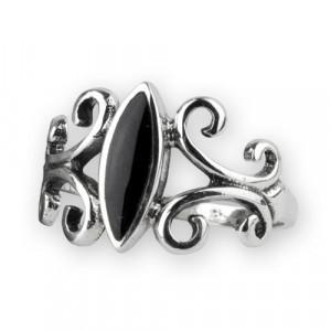Inel argint Ornament negru cu onix