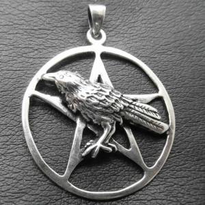 Pandantiv argint Corb cu pentagrama