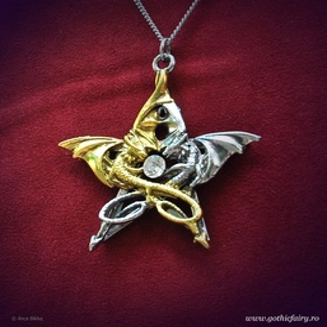Pandantiv dragoni în pentagramă Draca Stella