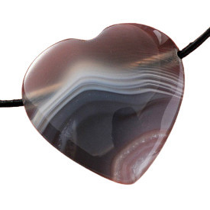 Pandantiv inima din piatra semipretioasa Agata de Botswana 3cm