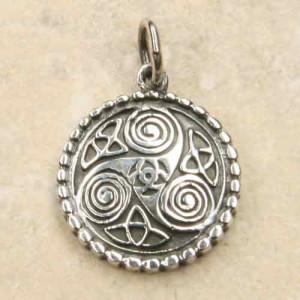 Pandantiv rotund argint Triskelion 2.5 cm