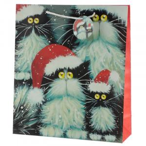 Punga cadou Craciun cu pisica Christmas Cats - foarte mare