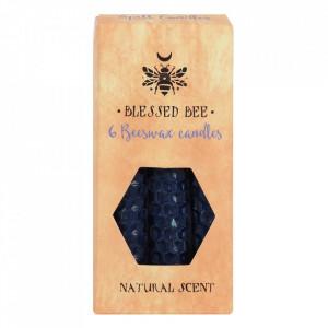 Set 6 lumanari albastre din ceara de albine pentru ritualuri de intelepciune 11cm