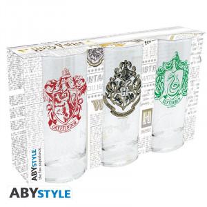 Set trei pahare sticla licenta Harry Potter - Embleme