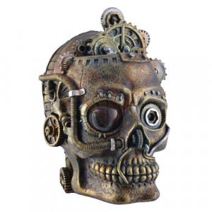 Statueta craniu steampunk cu led Minte Mecanica 18cm
