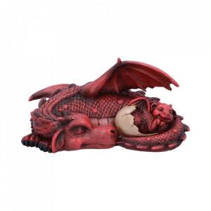 Statueta dragon cu pui Vise placute (rosu)