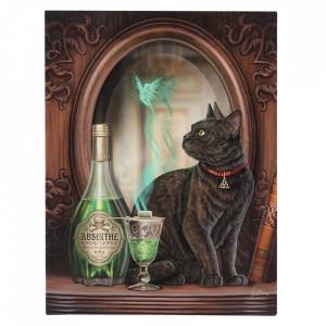 Tablou canvas pisica, Absinthe 19x25cm - Lisa Parker