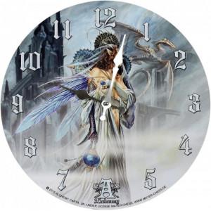 Ceas de perete din lemn dragon Mireasa Lunii - Alchemy 34cm