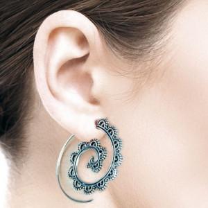 Cercei argint spirale Ornament dantelat