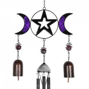 Clopotel de vant gotic Pentagrama cu Luna Tripla