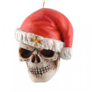 Decoratiune pentru bradul de craciun craniu Santa is Dead