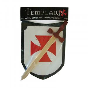 Jucarie - Set scut cu sabie de lemn Templier 43cm