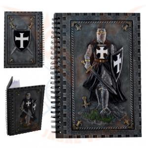 Jurnal /agenda cu coperti din rasina Cavaler Cruciat cu mantie neagra