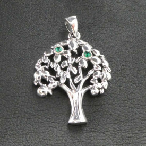Pandantiv argint Copacul vietii cu zirconiu verde
