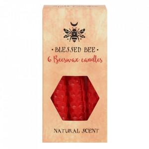 Set 6 lumanari din ceara de albine rosii pentru ritualuri de iubire si vitalitate 11cm