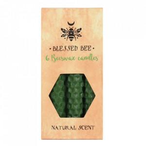 Set 6 lumanari verzi din ceara de albine pentru ritualuri de noroc, bani si fertilitate 11cm