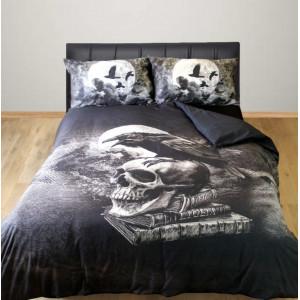 Set lenjerie de pat gotica din bumbac Alchemy - Corbul lui Poe 200x200 cm