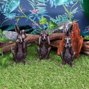 Set statuete Trei Iepurasi intelepti 14 cm