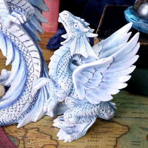 Statueta Age of Dragons - Dragon Argintiu pui - Anne Stokes - 12 cm