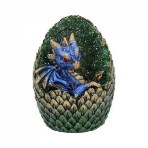 Statueta dragon in ou Casa din Cristale - verde/albastru 11 cm