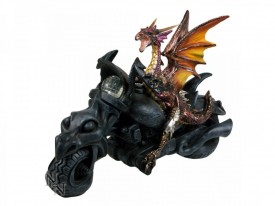 Statueta dragon pe motocicleta Born to Ride 28 cm