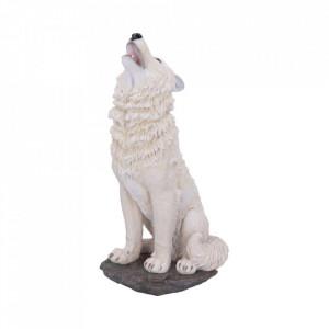 Statueta lup alb Urlet in furtuna 41.5 cm