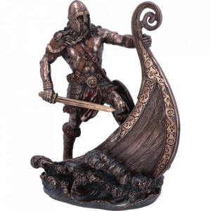 Statueta luptator viking cu corabie Halvor 24cm.