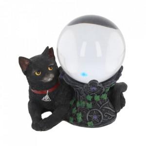 Statueta / Suport glob de cristal pisica neagra Cosmo 13 cm