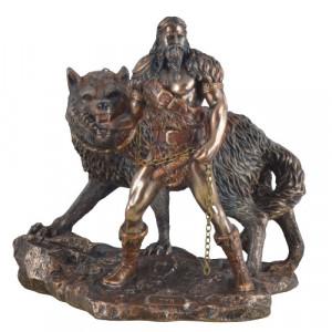 Statueta zeul nordic Tyr insotit de Fenrir 25cm